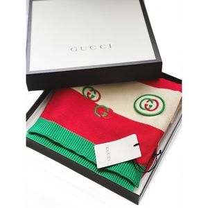 GUCCI GG Emblem Embroidered Scarf NWT